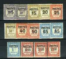 1937 MONACO N°140/153 TIMBRES TAXE SURCHARGES POSTE xx