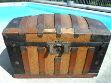 Vtg Victorian Dome Top Steamer Trunk Chest Wood Metal late1800's-1900's  # 4218
