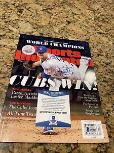 Jon Lester Signed 2016 Cubs World Series Sports Illustrated Magazine Beckett 2
