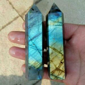 Natural Labradorite Quartz Obelisk Crystal Column Wand Stone Healing Point uk