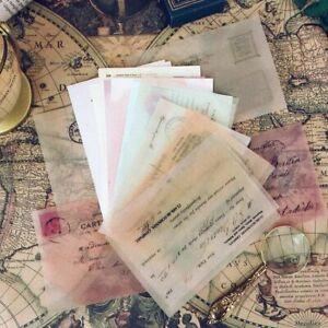 Old Letter Postcard Background Sulfuric Acid Paper Stickers For DIY Scrapbooking