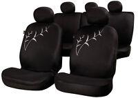 Sumex Universal 15pc Soft Polyester Foam Car Seat Covers Full Set - TALLO BLACK