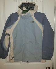 The North Face Light Blue White Nylon Girls Hyvent Jacket Rain Winter Shell Sz L