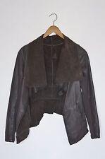 *STUNNING* AllSaints Ladies Brown DATYA drape Leather Jacket UK10 US6 EU38