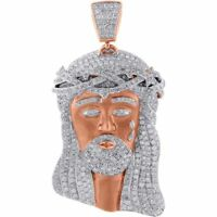 Diamond Jesus Face Piece Pendant Matte Satin Finish 10K Rose Gold Charm 5.50 Ct.