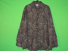 Lucky Brand Mens Size L Large 100% Linen Floral Long Slv Button Shirt