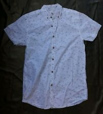 New Cedarwood State mens short sleeved shirt-white cotton /size XS.Bird print