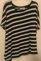 Chaps Womens Size 3 Pullover Knit Top Short Sleeve Striped black and White