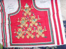 Small flaw Holiday Gathering uncut fabric sewing panel Bear Family to make apron