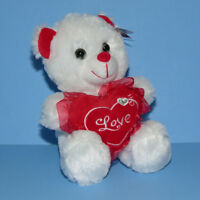 "Valentine's 8"" Teddy Bear Plush Stuffed Animal Love Heart White Red NEW"