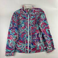 Talbots Womens Softshell Jacket Multicolor Blue Paisley Zip Up Pockets Petites S