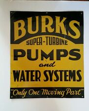 "Vintage Embossed Tin Litho Super Turbine ""BURKS PUMPS"" Advertising Sign 1930s"