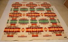 Vintage Pendleton Chief Joseph Beaver State Wool Blanket Orange Green Ivory