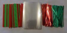 "Cake Pop Kit 4.5"" Lolly Sticks Cello Bags Red/Green Christmas Ties Metallic"