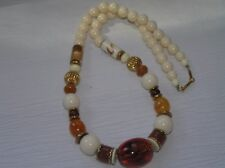 Estate Cream with Orange Swirl Brown Barrel & Faux Center Amber Bead Necklace –
