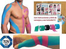 4 ROLLOS DE CINTAS KINESIOTAPE KINESIOLOGICAS +DVD E INSTRUCCIONES NEW OFERTON