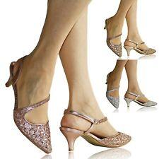 Womens Ladies Diamante Party Evening Prom Bride Low Kitten Heels Court Shoe Size