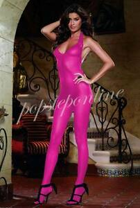 3 Colors Crotchless Bodystocking Strap Bodysuit Lingerie Sheer Lace-up Nightwear
