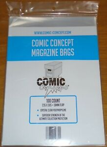100 x COMIC CONCEPT MAGAZINE BAGS CRYSTAL CLEAR POLYPROPYLENE SUPERIOR STRENGTH
