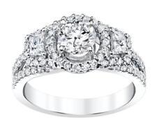 Diamond Halo Engagement Ring 1.73ct White 18k Gold Trapezoid