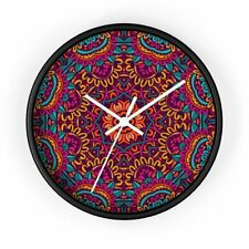 Colorful Mandala Abstract Mexican Aztec Pattern Tribal Ethnic Wall Clock