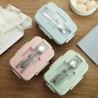 Kid Adult Lunch Box Food Container Wheat Straw Microwave Bento Boxes Storage Box