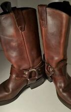 Brown Leather biker Boots Vulcan Neoprene Oil Resistant Sole Texas Size 6