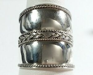 11mm Sterling Silver Vintage Braided and Swirl Design Cigar Ring Band Size 7 34