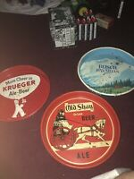 3 Vintage Beer Trays Krueger Beer, Old Shay Deluxe Beer And Busch Bavarian All I