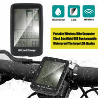 Wireless LCD Computer Bicycle Bike Backlight Rechargeable Speedometer Odometer