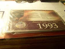 1993 AMERICAN SILVER EAGLE $1 COLORIZED, WITH HISTORY CARD/ CERT OF AUTHENTIC.