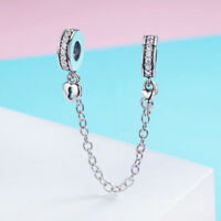 Solid 925 Silver Love Heart Lock Charm Dangle Pendant Safty Chain Fits Bracelet