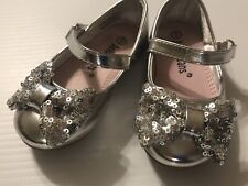 JELLY BEANS Toddler Girls Sz 5 Silver Mary Jane Party Shoes