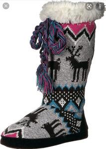 Muk Luks Grace Black/grey/pink Fleece-Lined TALL Slipper Boots Size 5-6 SM NEW