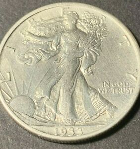 1933 S  Walking Liberty silver half dollar, AU