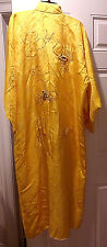 VINTAGE JAPANESE GOLD RAYON KIMONO LINED DRAGON & CLOUDS BEADWORK EMBROIDERY
