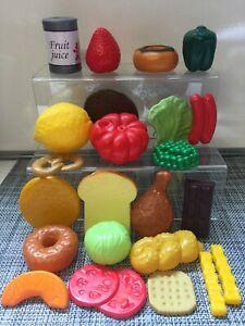 Childrens Toy Plastic Food - Fruit Veg Cake Bread Etc -23 Pieces