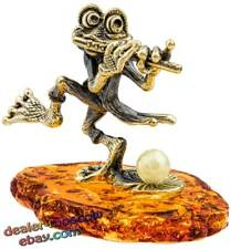 Bronze Solid Brass Baltic Amber Figurine Musician Frog with a Flute Statuette