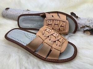 Women's Slippers Leather Flat Open Toe Slides