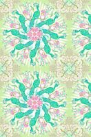 BTY In the Beginning PEACOCK GREEN Print 100% Cotton Quilt Fabric by the YARD