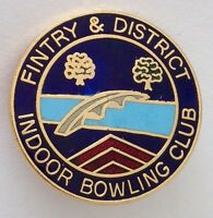 Fintry & District Indoor Bowling Club Badge Pin Rare Vintage UK (M18)
