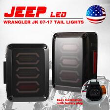 Jeep Wrangler JK Tail Lights LED Rear Lamps Reverse Brake Turn Signal Smoke Lens