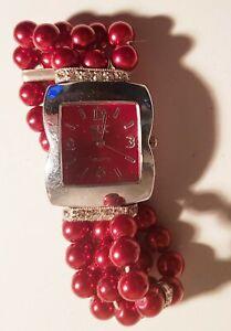 PERLENUHR HK Damen Armbanduhr mit Perlen Rot Edelsteinen Swarovski Kristall EDEL