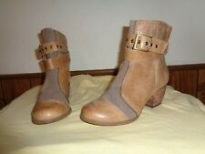 Restricted Tan Leather Ankle Booties Size 7.5  Buckle Straps
