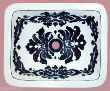 RECTANGLE BATHROOM SINK 17.5x14 MEXICAN CERAMIC DROP IN UNDER MOUNT #099