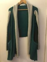 Sparrow Anthropologie Teal Open Front Cardigan With Gray Trim, Size XS, NEW!