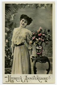 c 1910 Lovely SIMPLE FASHION glamour Pretty Lady French photo postcard