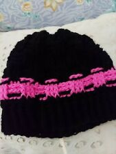 Beanie Hat -Winter Hat Warm and Soft Knit Beanie Pink and Black