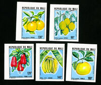 Mali Stamps # 340-44 NH Fruit Topical Imperforate Lot