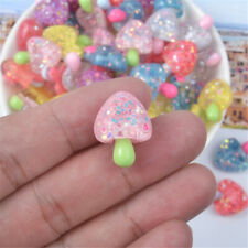 Mini Transparent Plastic Cabochons Flatbacks Mushroom Shaped Craft Decor 10 pcs